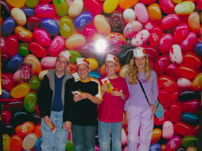 Here's a throwback of me at the Jelly Belly factory around the age of 11 or 12 with my cousins.